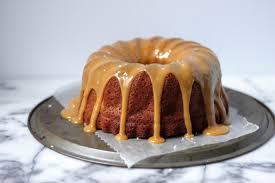 brown cake brown butter apple bundt cake with bourbon butterscotch sauce