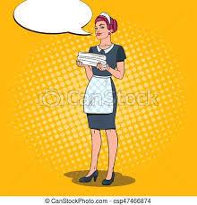 uniforme femme de chambre hotel femme femme chambre hôtel pop bonne vecteur
