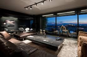 living room wonderful blue brown wood glass cool interior design