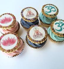 edible prints cupcakes with lotus flower namaste and om edible prints www