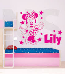 minnie mouse wall art sticker with personalised name zoom