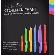 coloured kitchen knives set find more brand 6 urbansouschef stainless steel non