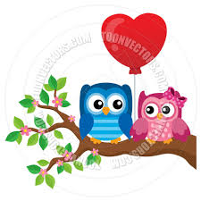 cartoon valentine owls theme image by clairev toon vectors eps