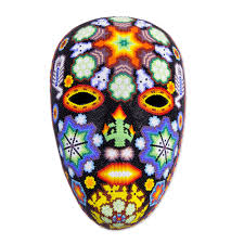 halloween paper mache masks handcrafted huichol papier mache mask with beadwork scorpions