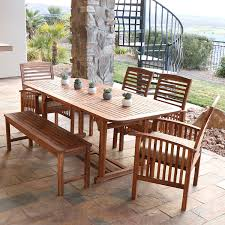Natural Wood Dining Room Table by Amazon Com We Furniture Solid Acacia Wood 6 Piece Patio Dining