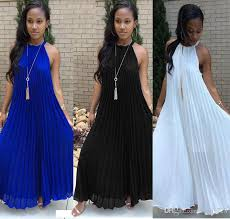 2017 summer trendy pleated chiffon long maxi dress for women