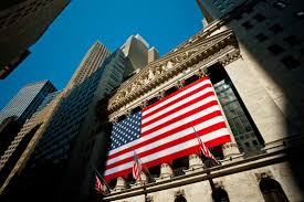 New Yorks Flag American Flag On The Front Of The New York Stock Exchange Shot On