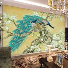 Chinese Home Decor Vintage Home Decor Chinese Wallpaper Mural Tv Background Peacock
