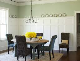splendid dining room with grey wall and white wainscoting finish