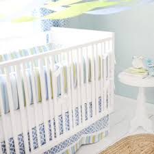 Green And White Crib Bedding By The Bay Baby Blue White And Green Baby Bedding Set And