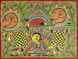 Zapotec Rug Paintings Original Madhubani Folk Art Painting Of Goddess Durga Durga U0027s