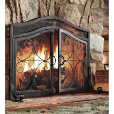 ideas u0026 tips single panel metal fireplace screens for fireplace