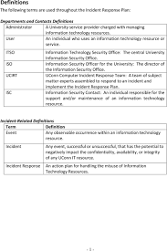 information security incident response plan template 28 images