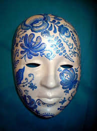 mask decorations masquerade mask decorated with blue painting and creative craft