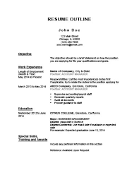 What Is Chronological Resume 5 Customizable Resume Outline Templates And Worksheets