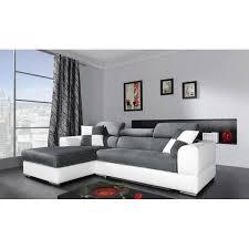solde canapes canapé d angle 4 places néto madrid gris et blanc pas cher