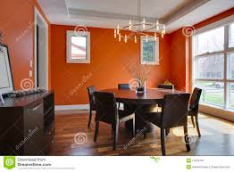 orange dining room chairs luxury dining room with orange walls stock image image 14256705