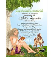 woodland creatures baby shower invitation with mommy caricature