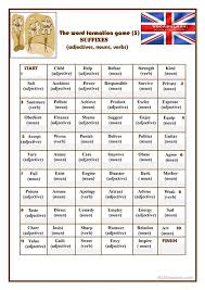 esl printable word games for adults the word formation game 3 suffixes worksheet free esl printable