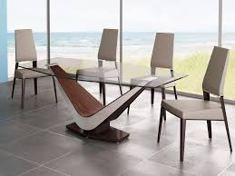 Table Round Glass Dining With Wooden Base Breakfast Nook by Contemporary Glass Dining Room Tables Modern Furniture 7