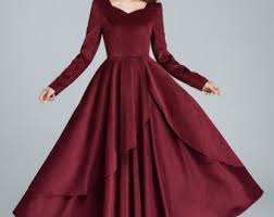 maroon dresses for wedding wine dress etsy