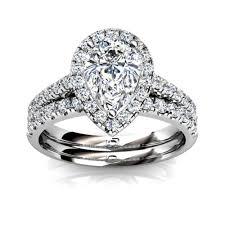 Pear Shaped Wedding Ring by 14kt White Gold Pear Shape Diamond Halo Wedding Set Union Diamond