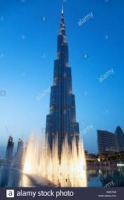 fountain in front of the burj khalifa the worlds tallest building