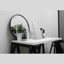 Small Desk Plants by Home Accessory Mirror Black Minimalist Small Desk White