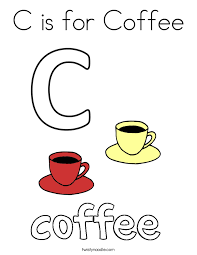 c is for coffee coloring page twisty noodle
