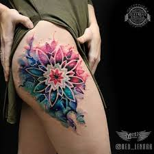 image result for back of thigh tattoo mandala watercolor tattoos