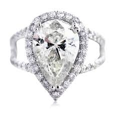 gold pear shaped engagement ring 18k white gold micro pave 4 58ct pear shaped engagement ring