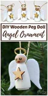 diy wooden peg doll angel ornament homemade christmas crafts