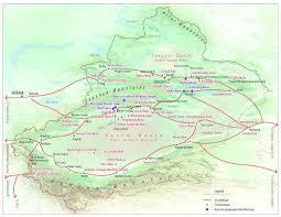 Taklamakan Desert Map Silk Road Maps China Silk Road Map Shaanxi Map Gansu Map