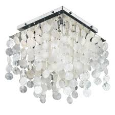 Crystal Flush Mount Lighting Glow Lighting Cityscape 4 Light Chrome Capiz Shell And Crystal
