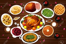 a vector illustration of food of thanksgiving dinner on the table