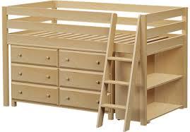 castello birch twin jr loft bed with 6 drawer dresser u0026 bookcase
