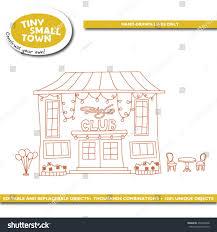 tiny small town disco club cartoon stock vector 434396668