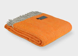 orange and herringbone throw buy at british blanket
