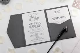 wedding invitations hamilton vintage banner wedding invitation in platinum grey pocketfold