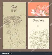 set invitation cards party handdrawn flowers stock vector