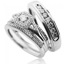 wedding bands sets his and hers vintage wedding rings set white gold 0 65ct diamonds trio set his