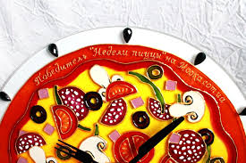 Home Decor Hours Wall Clock 12 Hours Quartz Stained Glass Paint Pizza Bedroom Home