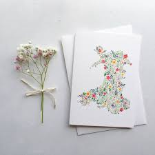 Map Of Wales Floral Map Of Wales Greeting Card By Eleri Haf Designs