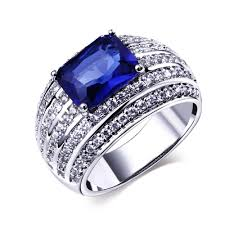 engagement rings with blue stones blue engagement rings real gold plated with cubic zirconia