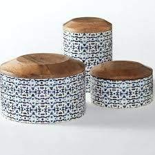 wooden canisters kitchen kitchen canisters with wooden lids enamel coated mango wood