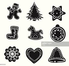 black outlines of christmas decorations vector art getty images