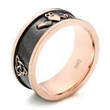 custom rings for men custom gold black antiqued men s band 103134