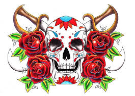 sugar skull old red roses tattoo stencil golfian com