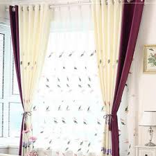 Purple Floral Curtains White And Purple Floral Print Chenille Thermal Color Block Country
