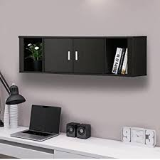 Computer Hutch Desk With Doors Amazon Com Topeakmart Wall Mounted Floating Media Storage Cabinet